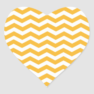 Goldenrod Yellow And White Zigzag Chevron Pattern Heart Sticker