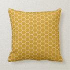 Goldenrod Yellow Geometric Honeycomb Hexagon Patte Throw Pillow