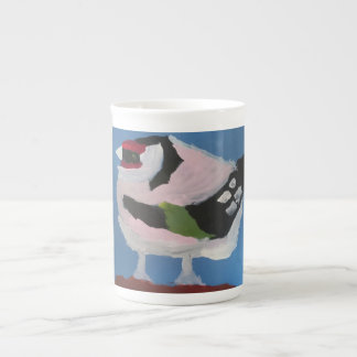 Goldfinch abstract original bird painting tea cup