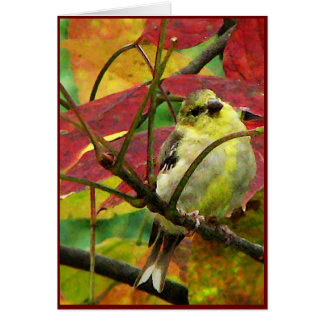 Goldfinch and Autumn Leaves Card