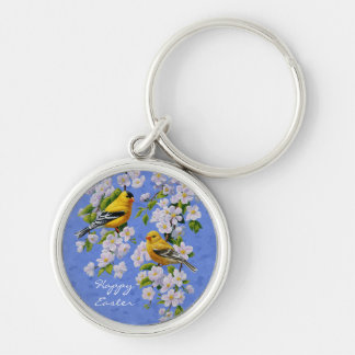 Goldfinch Birds and Flowers Blue Silver-Colored Round Keychain