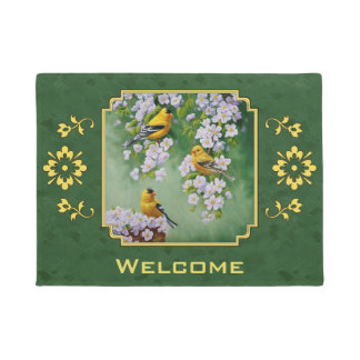 Goldfinch Birds and Flowers Green Doormat