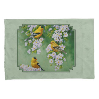 Goldfinch Birds and Flowers Green Pillowcase