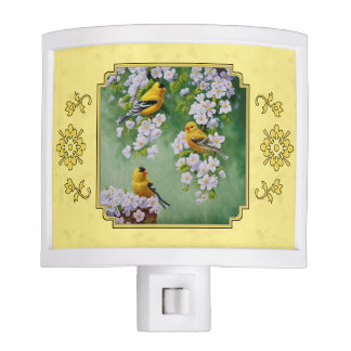 Goldfinch Birds & Apple Blossoms Yellow Nite Light