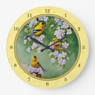 Goldfinch Birds & Apple Blossoms Yellow Wallclock