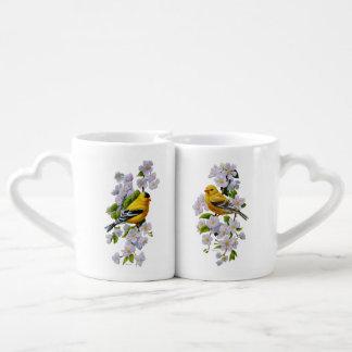 Goldfinch Birds & Flowers U-Pick Background Color Coffee Mug Set