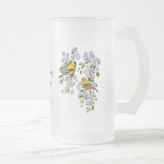 Goldfinch Birds & Flowers U-Pick Background Color Frosted Glass Beer Mug