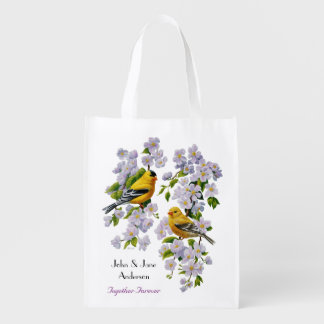 Goldfinch Birds & Flowers U-Pick Background Color Market Tote