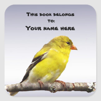 Goldfinch Bookplate Square Sticker