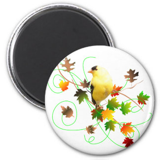 Goldfinch & Fall Leaves Magnet