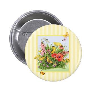 Goldfinch Garden 2 Inch Round Button