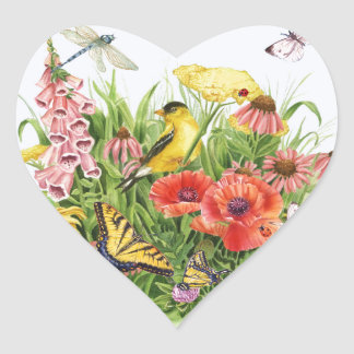 Goldfinch Garden Heart Sticker