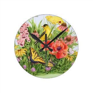 Goldfinch Garden Round Clock