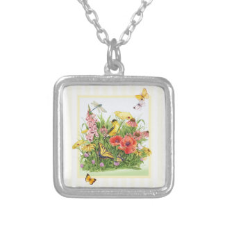 Goldfinch Garden Silver Plated Necklace