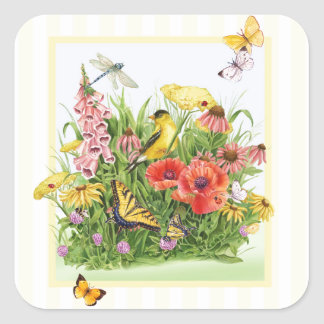 Goldfinch Garden Square Sticker