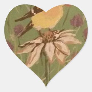 goldfinch heart sticker
