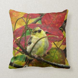 Goldfinch in Autumn Throw Pillow