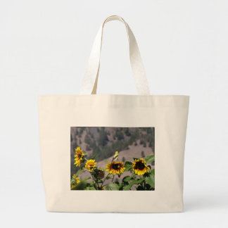 Goldfinch in the Sunflower patch Large Tote Bag
