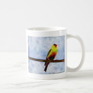 Goldfinch on Power Line Coffee Mug