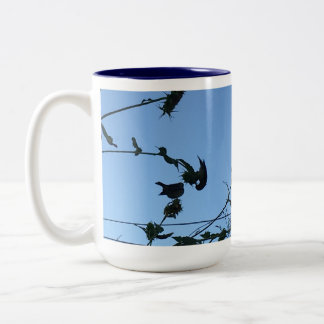 Goldfinch Silouhette Two-Tone Coffee Mug