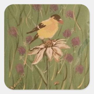 goldfinch square sticker