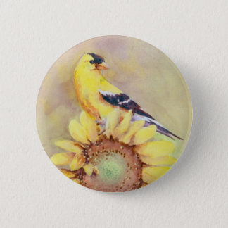 GOLDFINCH & SUNFLOWER by SHARON SHARPE 2 Inch Round Button