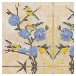 Goldfinches and Chicory. Fabric