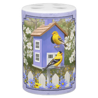 Goldfinches and Fancy Purple Birdhouse Soap Dispensers