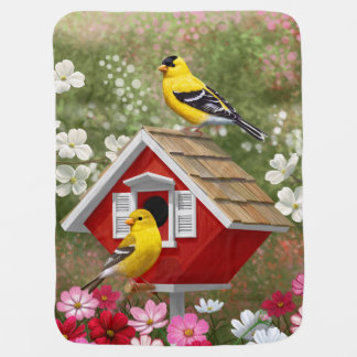 Goldfinches and Red Birdhouse Swaddle Blankets