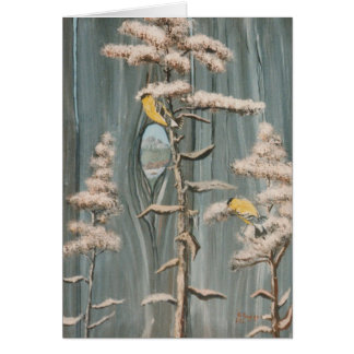 Goldfinches on a branch with Pikes Peak View Card