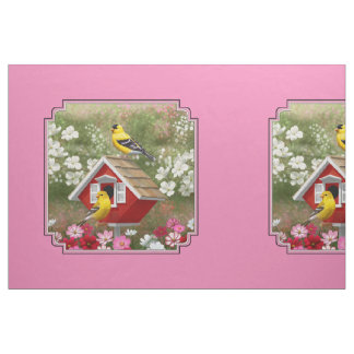Goldfinches & Red Birdhouse Pink Pillow Size Fabric