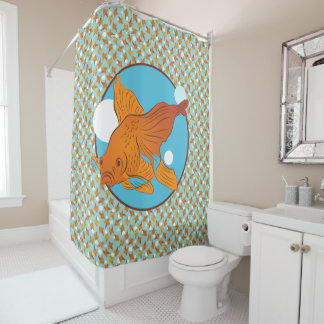 Goldfish and Bubbles Graphic Pattern