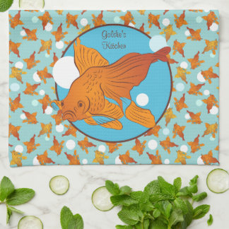 Goldfish and Bubbles Graphic Pattern Personalized Kitchen Towel