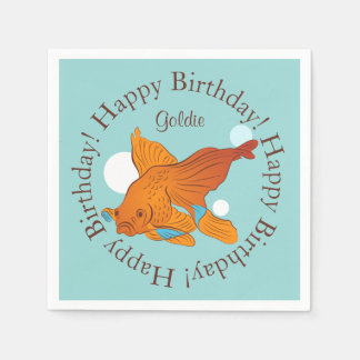 Goldfish and Bubbles Graphic Personalized Birthday Paper Napkins