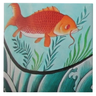 Goldfish and Seaweed Ceramic Tile