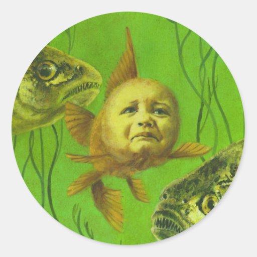 Goldfish Baby Mutant Design Round Stickers