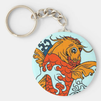 Goldfish Basic Round Button Keychain