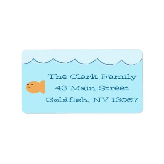 Goldfish Birthday Party Return Address Label