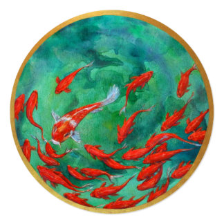 "Goldfish bowl note card, round 5.25"" x 5.25"" card"