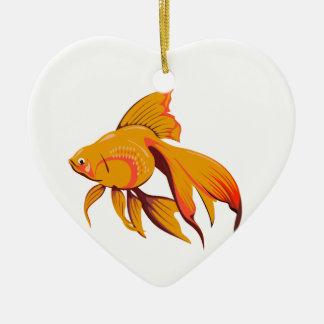 Goldfish Ceramic Heart Ornament