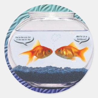 Goldfish fishbowl humor classic round sticker