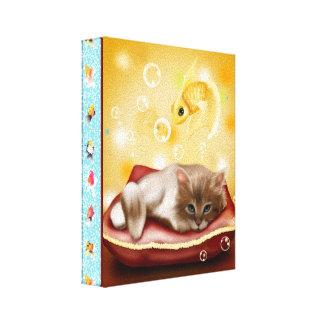 Goldfish Frame with fluffy Sleepy kitten on pillow Canvas Prints