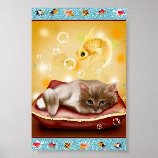 Goldfish Frame with fluffy Sleepy kitten on pillow Poster