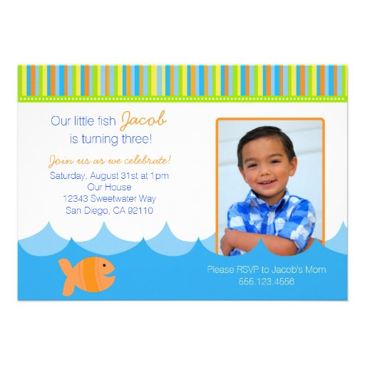 Goldfish Gold Fish Birthday Party Invitation Personalized Announcements