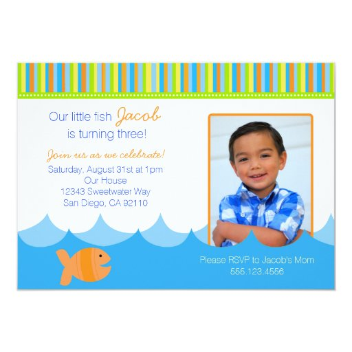 Goldfish Gold Fish Birthday Party Invitation Personalized