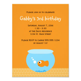 Goldfish Kids Birthday Invitations