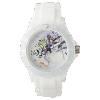 Goldfish Kingfisher Bird Japanese print Wristwatches
