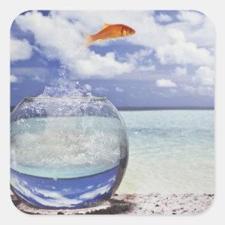 Goldfish Leap Square Sticker