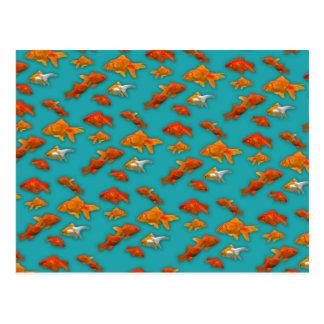 Goldfish on Turquoise Postcard