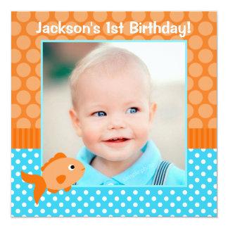 "Goldfish Polka Dot 1st Birthday Photo 5.25"" Square Invitation Card"